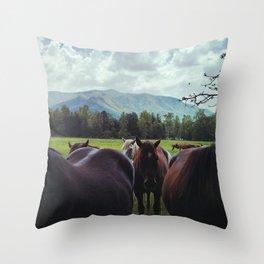 Horses at Cades Cove Throw Pillow