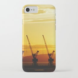 Three cranes in the Port of Marseille at sunset | Travel Photography iPhone Case