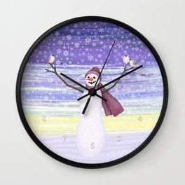 snowman with tufted titmice Wall Clock