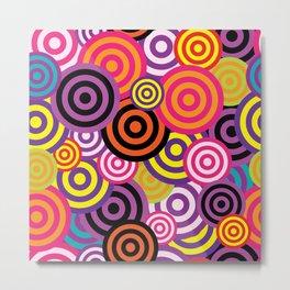 Retro Multicolored Circles Metal Print