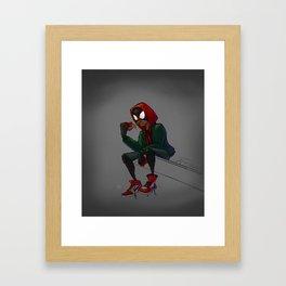 Miles Morales Loves Pizza Breaks in the Spider-Verse Framed Art Print