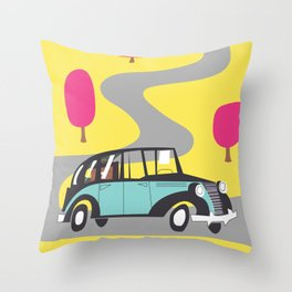 vintage car cartoon Throw Pillow