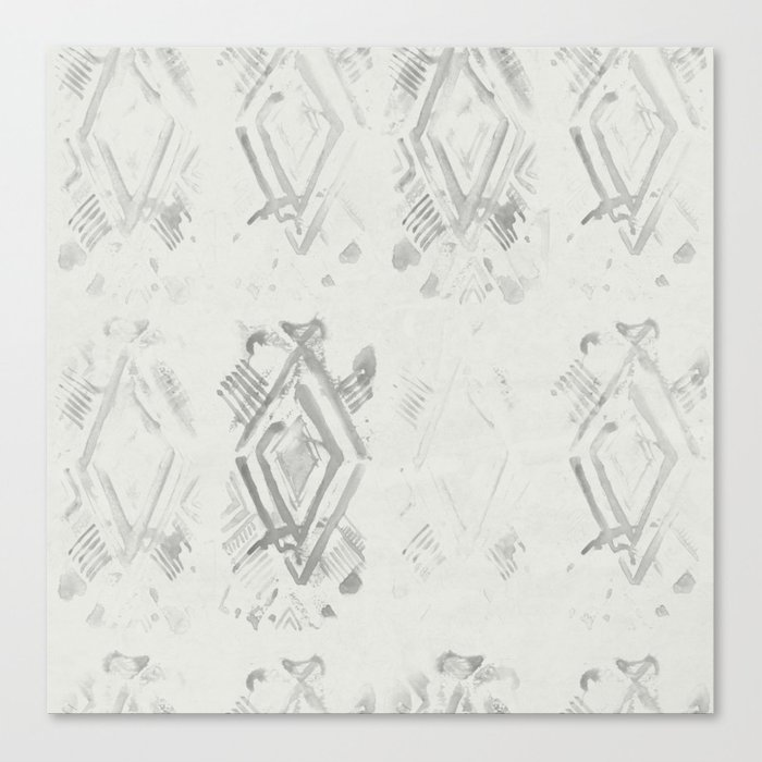 Simply Ikat Ink in Lunar Gray Canvas Print