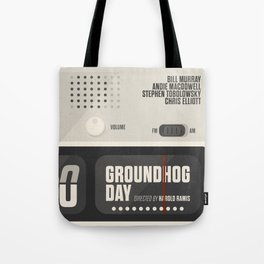 Groundhog Day, Bill Murray, minimalist movie poster, Andie MacDowell, Harold Ramis Tote Bag