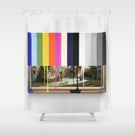 Garage Sale Painting of Peasants with Color Bars Shower Curtain