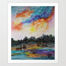 WAtercolor City Art Print