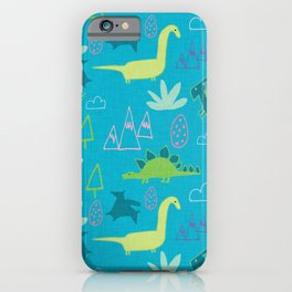 Dino Fun land Blue iPhone Case