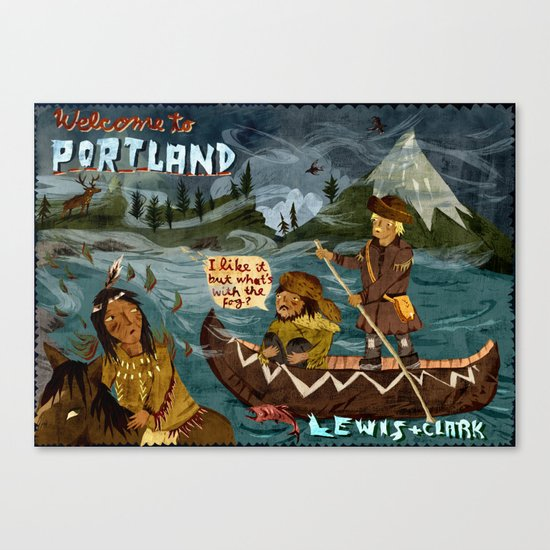Postcard from Lewis + Clark Canvas Print