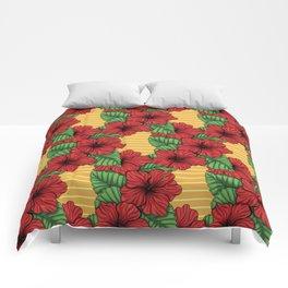 Hibiskcus and leaves, tropical pattern Comforters