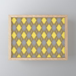 Gray Yellow Brown Argyle Pattern V8 Pantone 2021 Colors of the Year & Accent Shades Framed Mini Art Print