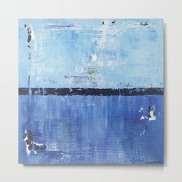 Shiver Abstract Art Blue Modern Water Painting  Metal Print