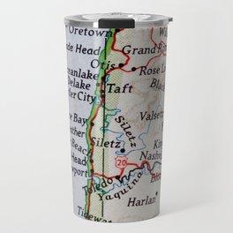Vintage Oregon Coast Map #traveller #wanderlust #Pacific Travel Mug