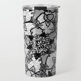 Elegant floral black hand drawn lace pattern Travel Mug