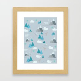 Winter Forest Mountains And Trees Framed Art Print