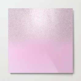 Girly blush pink lavender gradient glitter Metal Print