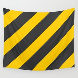 Stripes Diagonal Black & Yellow Wall Tapestry
