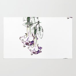 Illustrated Moonflower in Purple and Green Rug