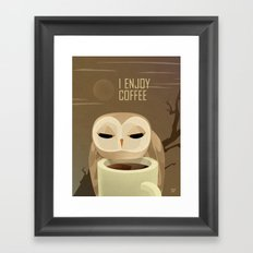Owl Enjoys Coffee Framed Art Print