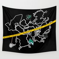 darwin Wall Tapestries featuring Smashing Chalk Outline by zombieCraig