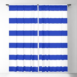 Blue Persian Stripes on White Background Blackout Curtain
