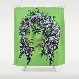 Female elf profile 1e Shower Curtain