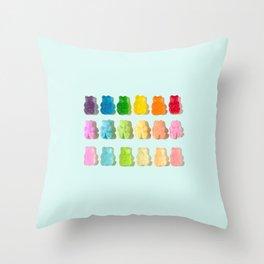 Gummi Bear Rainbow Throw Pillow