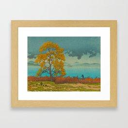 Vintage Japanese Woodblock Print Autumn Japanese Landscape Field Tall Tree Framed Art Print