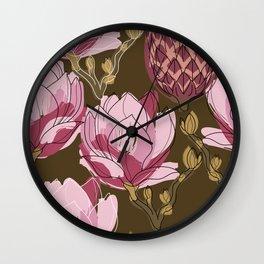 Botanical flower pattern. Magnolia flower buds Wall Clock