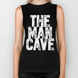 The Man Cave (white text on black) Biker Tank