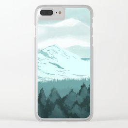Icy Mountain Speedpaint Clear iPhone Case
