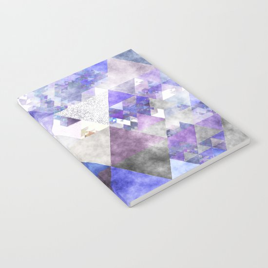 Purple and silver glitter triangle pattern- Abstract watercolor illustration Notebook