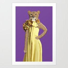 Lioness wearing Gucci Art Print