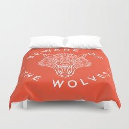 Beware of the Wolves (white) Duvet Cover