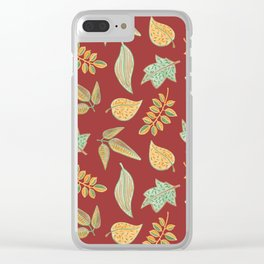 Yellow Autumn Leaves, Warm Colors  Crayon Drawing Clear iPhone Case