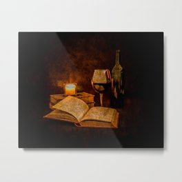 Wine and Reading by Candlelight Metal Print