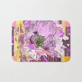 CosmicGolden Yellow-Pink-Grey Graphic Rose Design Bath Mat