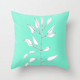 One line plant with background Throw Pillow