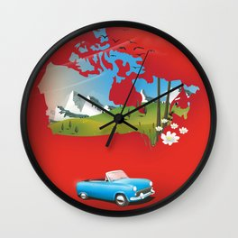 Canada illustrated travel poster. Wall Clock
