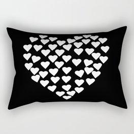 Hearts on Heart White on Black Rectangular Pillow