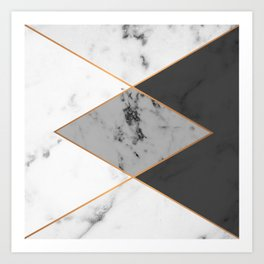 Geometric marble & copper Art Print