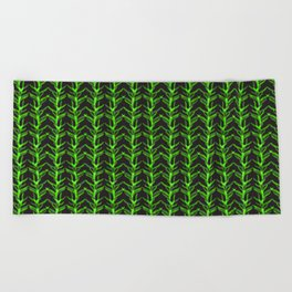 Watercolour Fern Leaf Woodland Plant Pattern Illustration Moss & Forest Green Nature Beach Towel