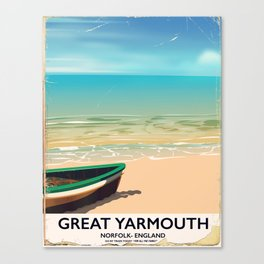 Great Yarmouth, Norfolk, Seaside travel poster Canvas Print