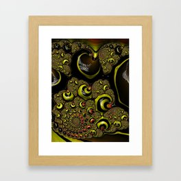 Down The Rabbit Hole Bumble Bee Yellow Black Funky Zebra Stripe Abstract Swirl Fractal Art Design Framed Art Print