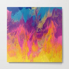 Rainbow Camp Fire Abstract Painting Metal Print