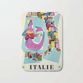 Retro naive cubist Italian beaches, mermaid travel ad Bath Mat