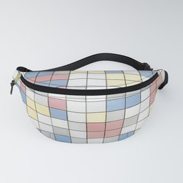 Composition with Grid IX by Piet Mondrian 1919 // Red Blue Yellow Gray Cube Abstract Square Pattern Fanny Pack