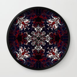Psychedelic Black, Red and White Pattern Wall Clock