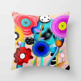 Yellow Polka Dots Floral Bouquet Throw Pillow