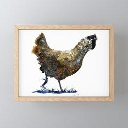 Ameraucana Hen in Stride - Chicken watercolor Painting Framed Mini Art Print
