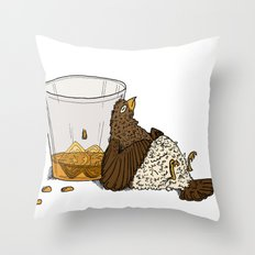 Thirsty Grouse - Colored with White Background Throw Pillow